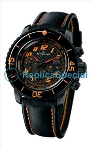 Blancpain Speed ​​Command 5785F - 11D03-63 Leather Bralecet Automatic Black Dial Mens Watch